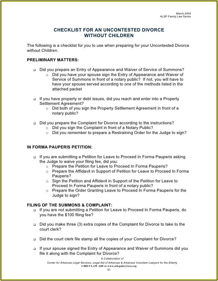 Divorce Final Judgement Packet