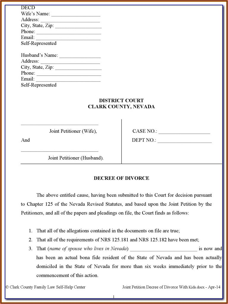Divorce Forms Nevada Clark County
