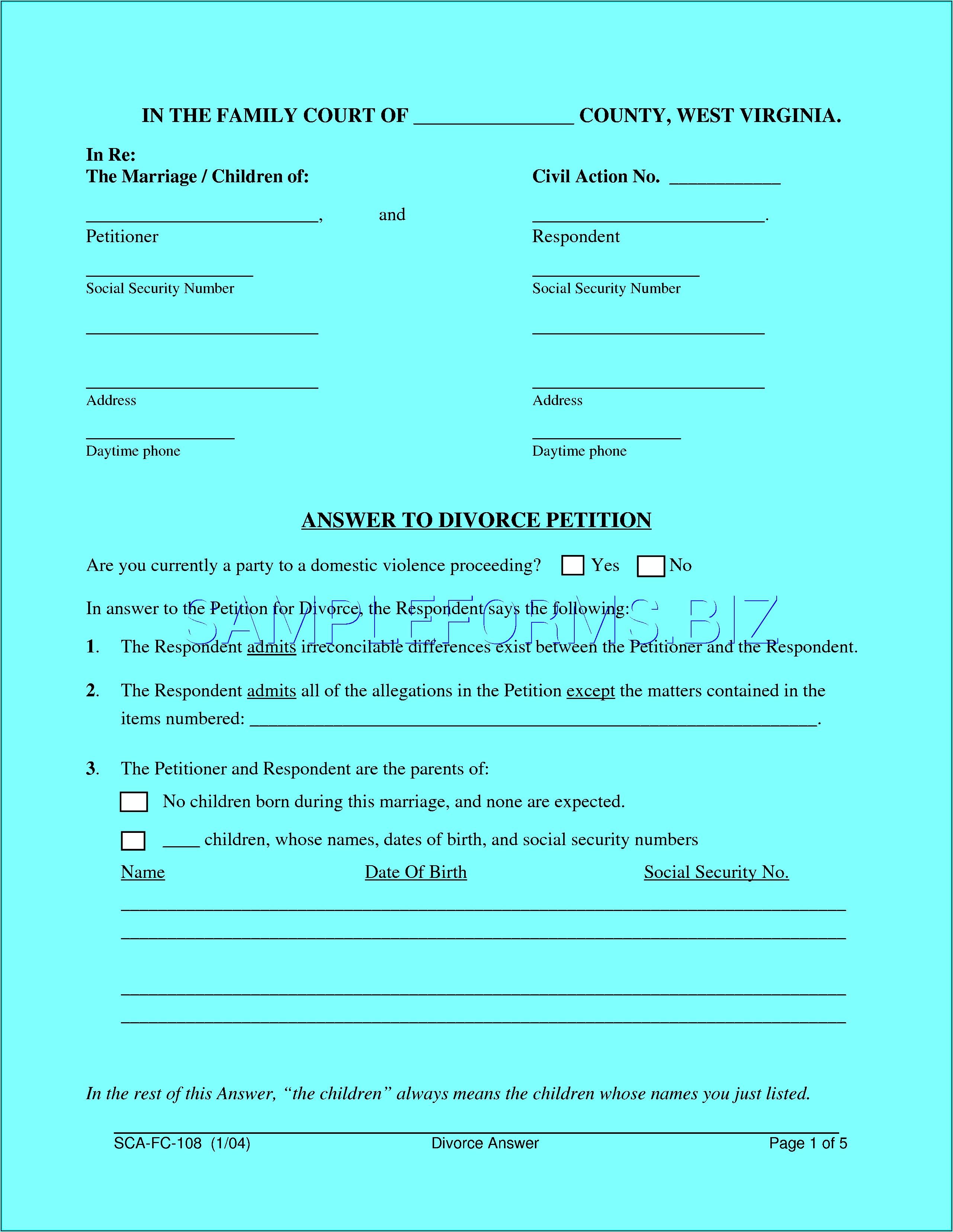 Divorce Paperwork In Va