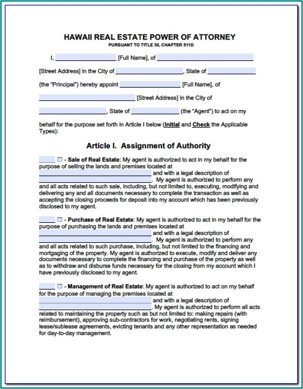 Dmv Power Of Attorney Form Hawaii