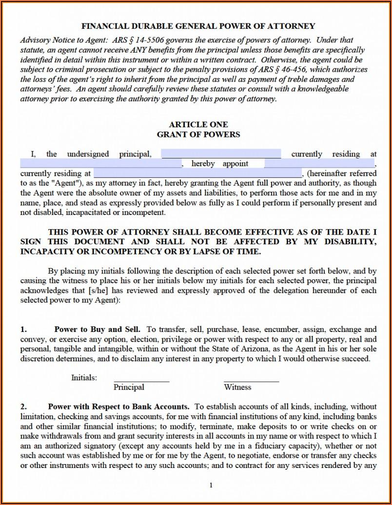 Durable Power Of Attorney Arizona Free Form
