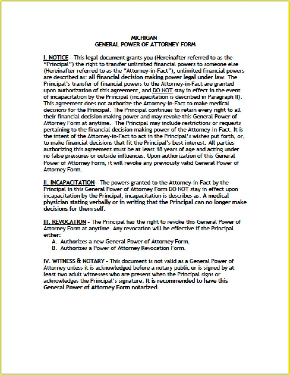 Durable Power Of Attorney Michigan Form