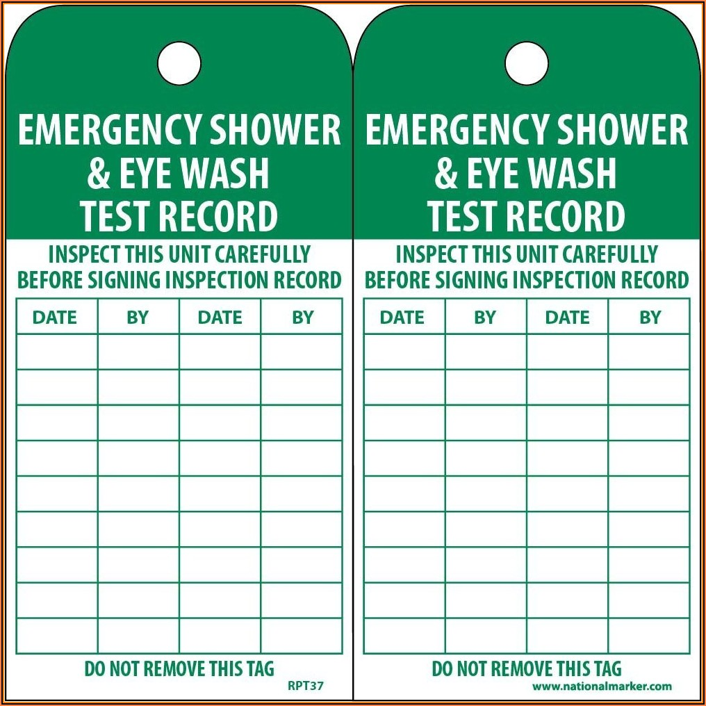 Emergency Eyewash Inspection Form
