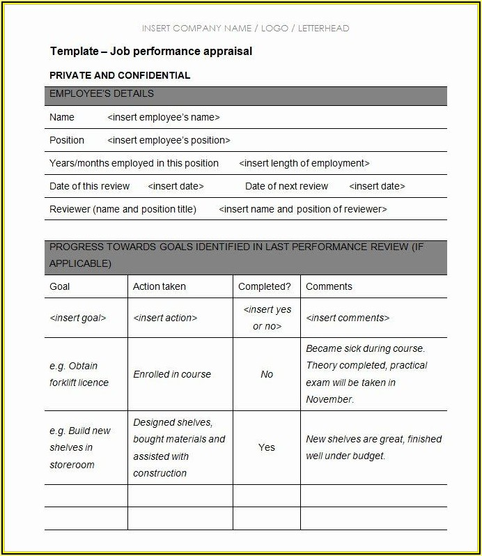 Employee Performance Appraisal Form Template Pdf