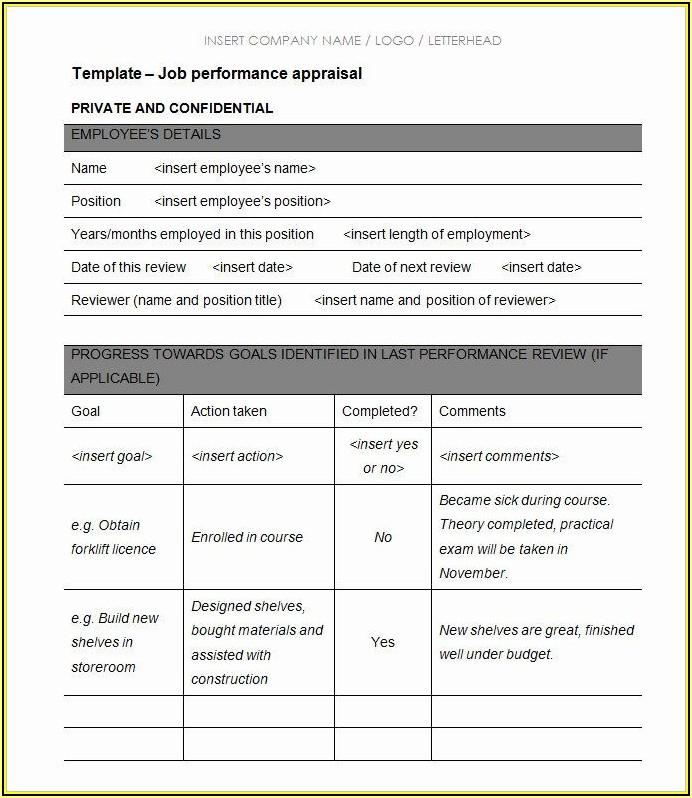 Employee Performance Appraisal Form Template Pdf