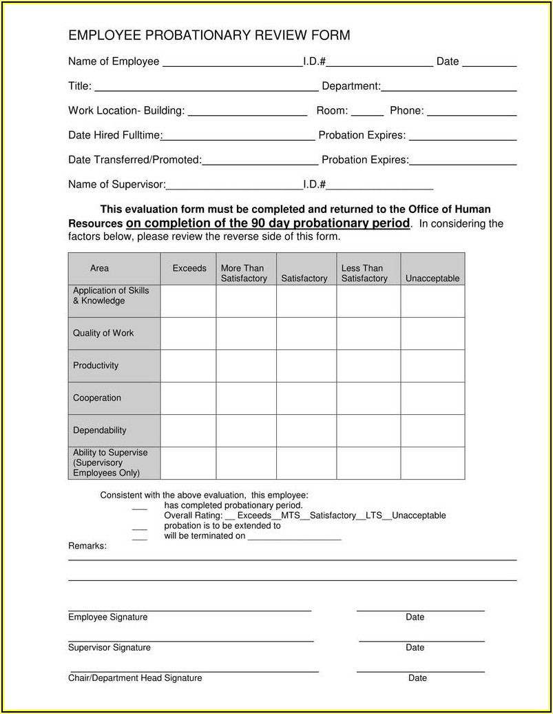 Employee Performance Appraisal Form Template