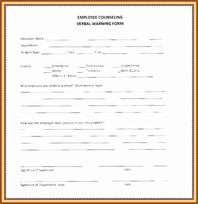 Employee Warning Form Free