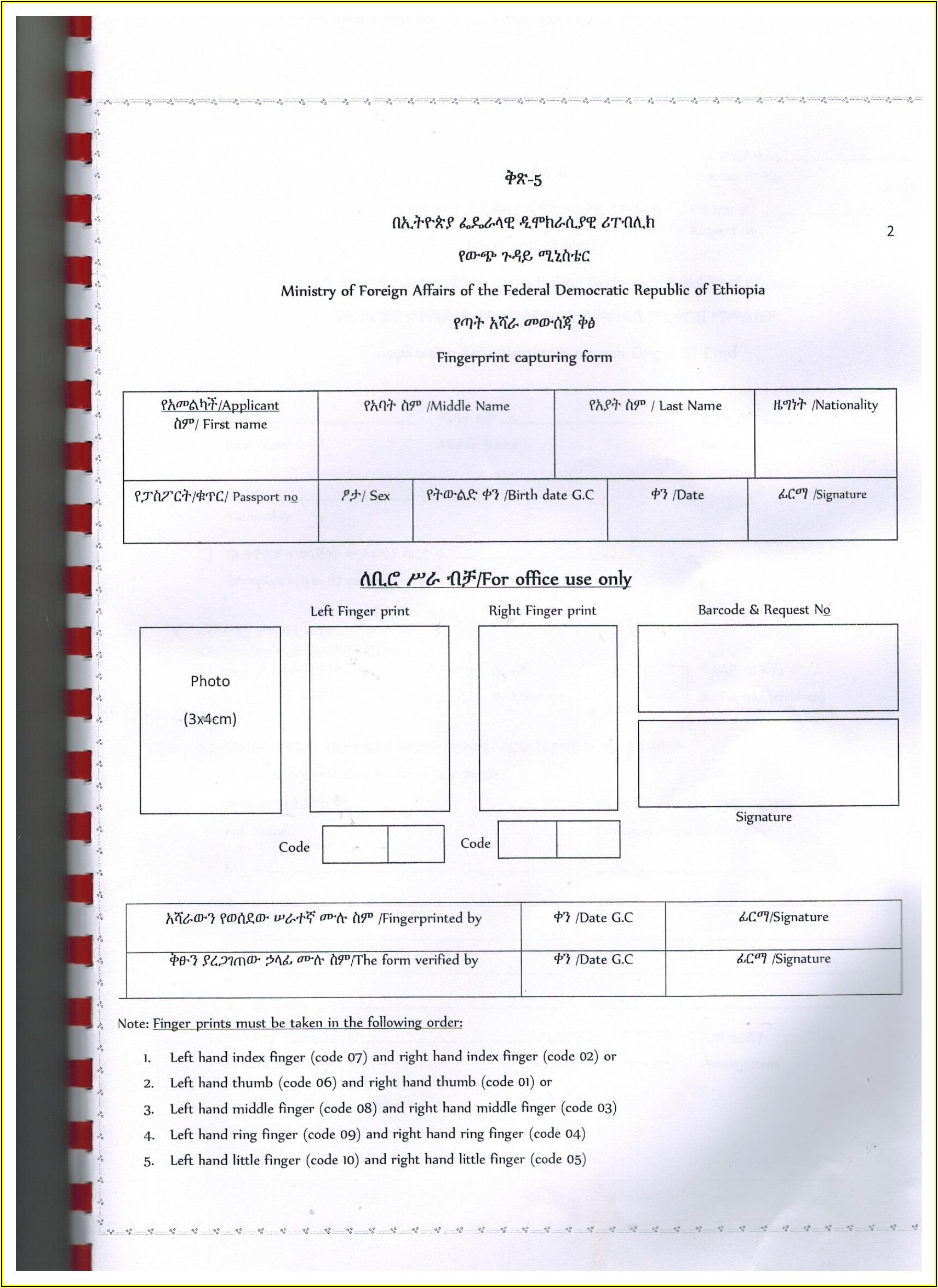 Ethiopian Passport Renewal Application Form In Usa