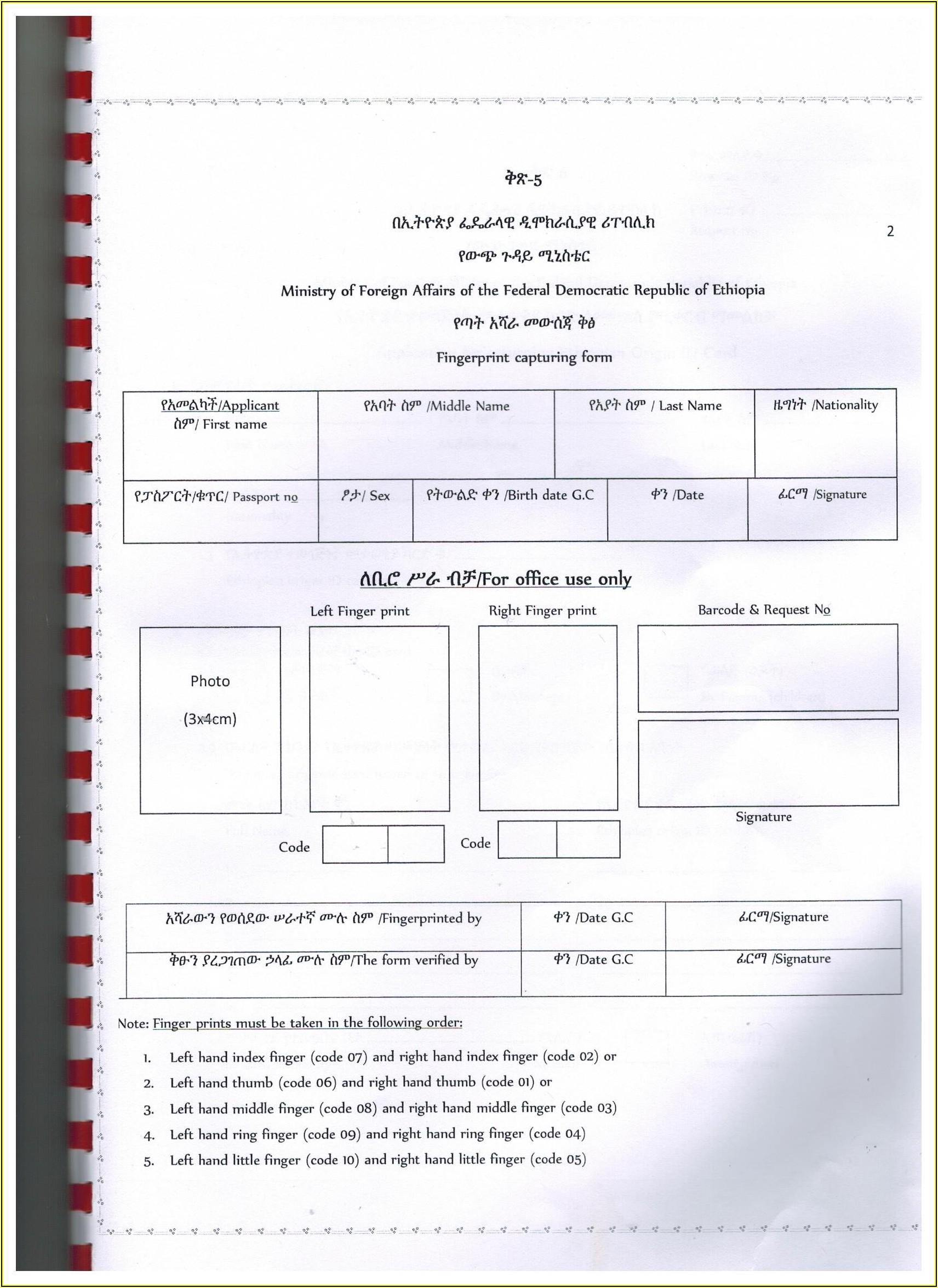 Ethiopian Passport Renewal Application Form In Usa