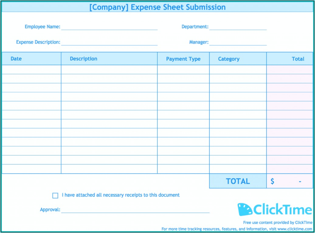Expense Report Example Excel