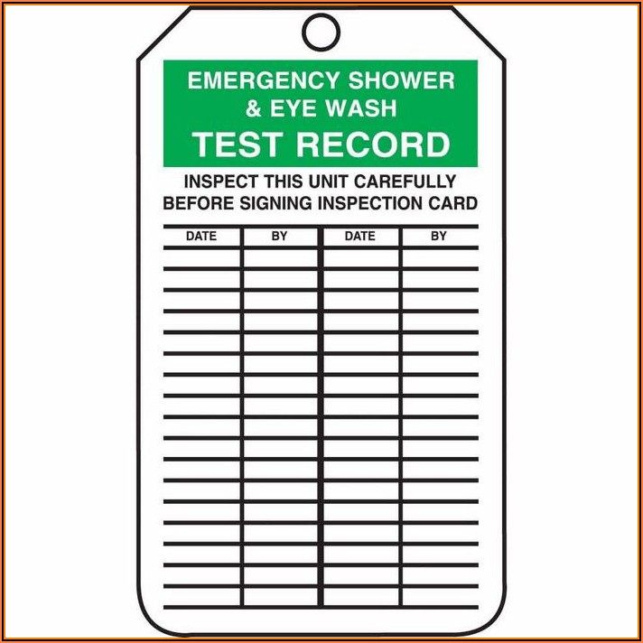 Eyewash And Shower Inspection Form