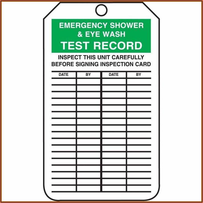Eyewash And Shower Inspection Form