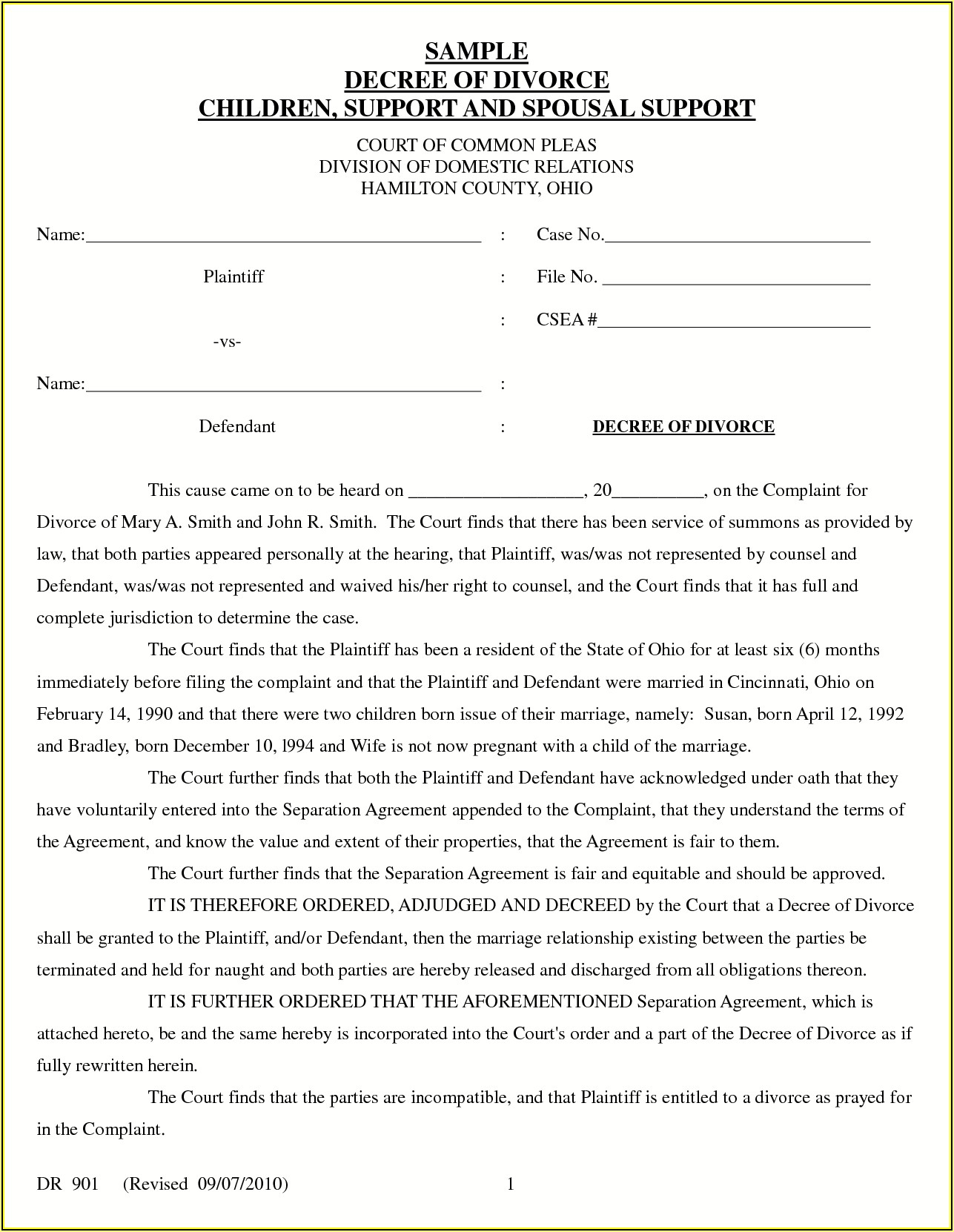 Final Divorce Decree Template