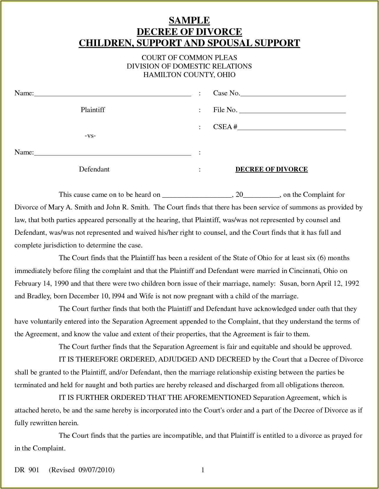 Final Divorce Decree Template