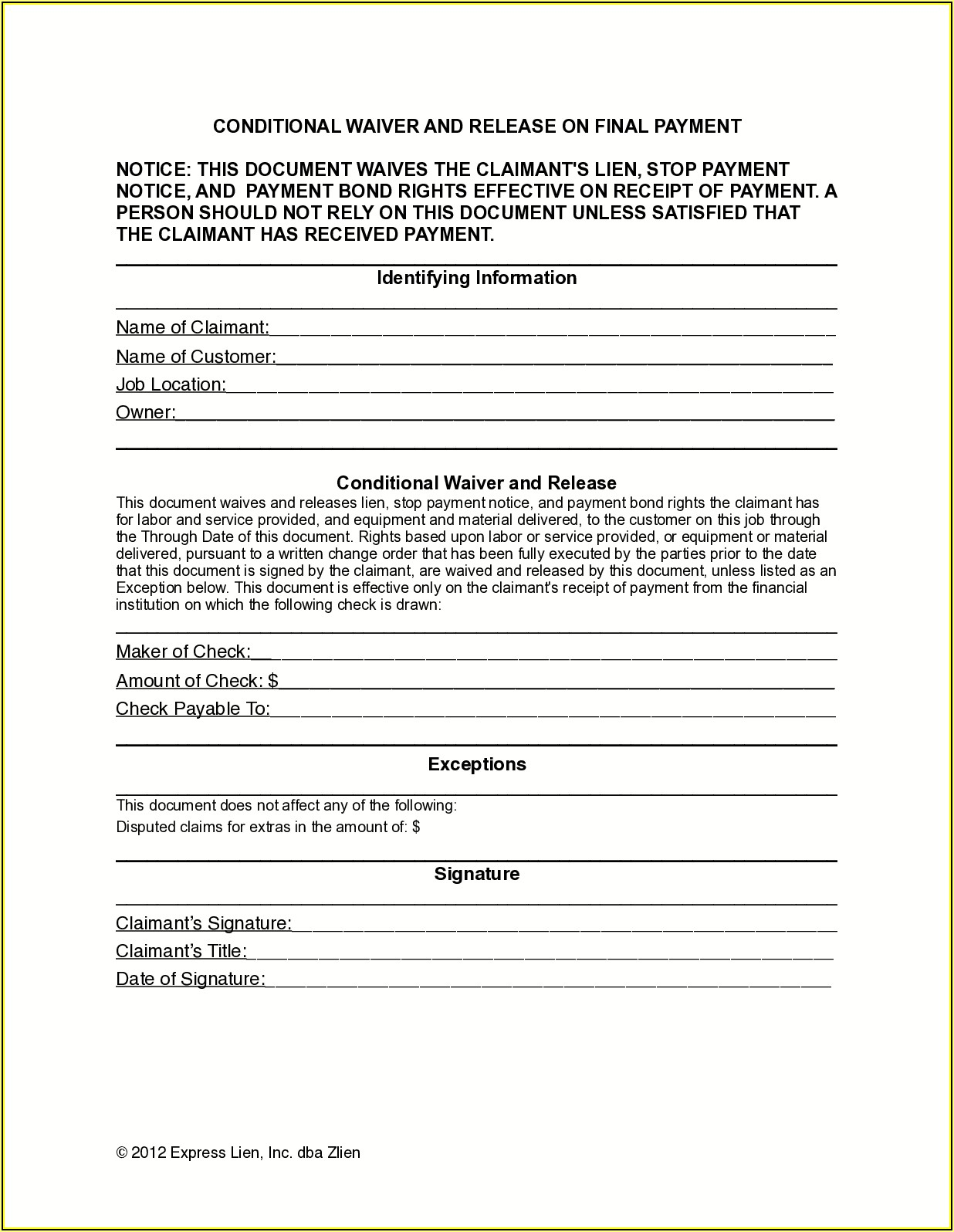 Final Waiver Of Lien Illinois Form
