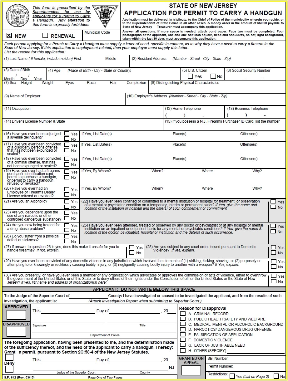 Florida Concealed Carry Permit Application Form