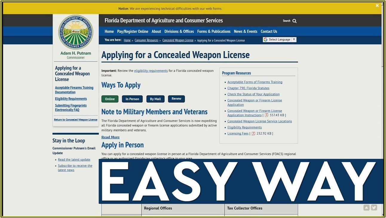 Florida Concealed Weapons Permit Form