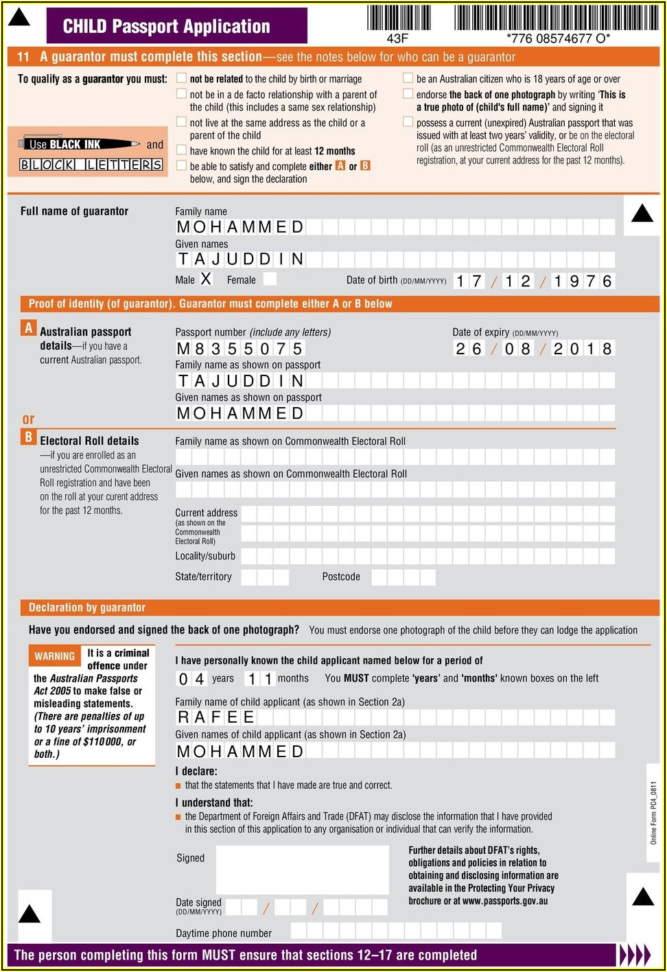 Form For Passport Renewal Australia