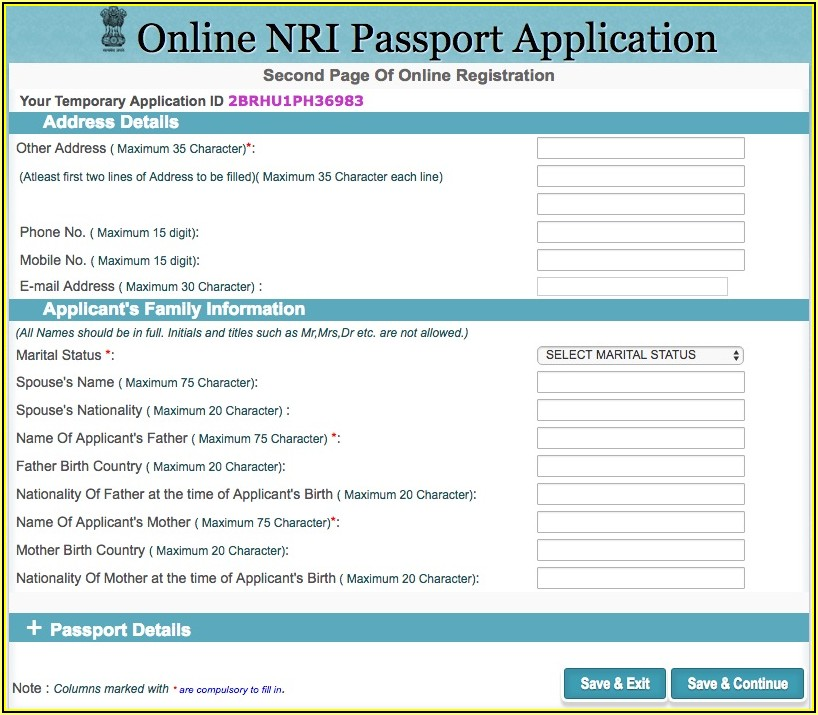 Form For Passport Renewal In India