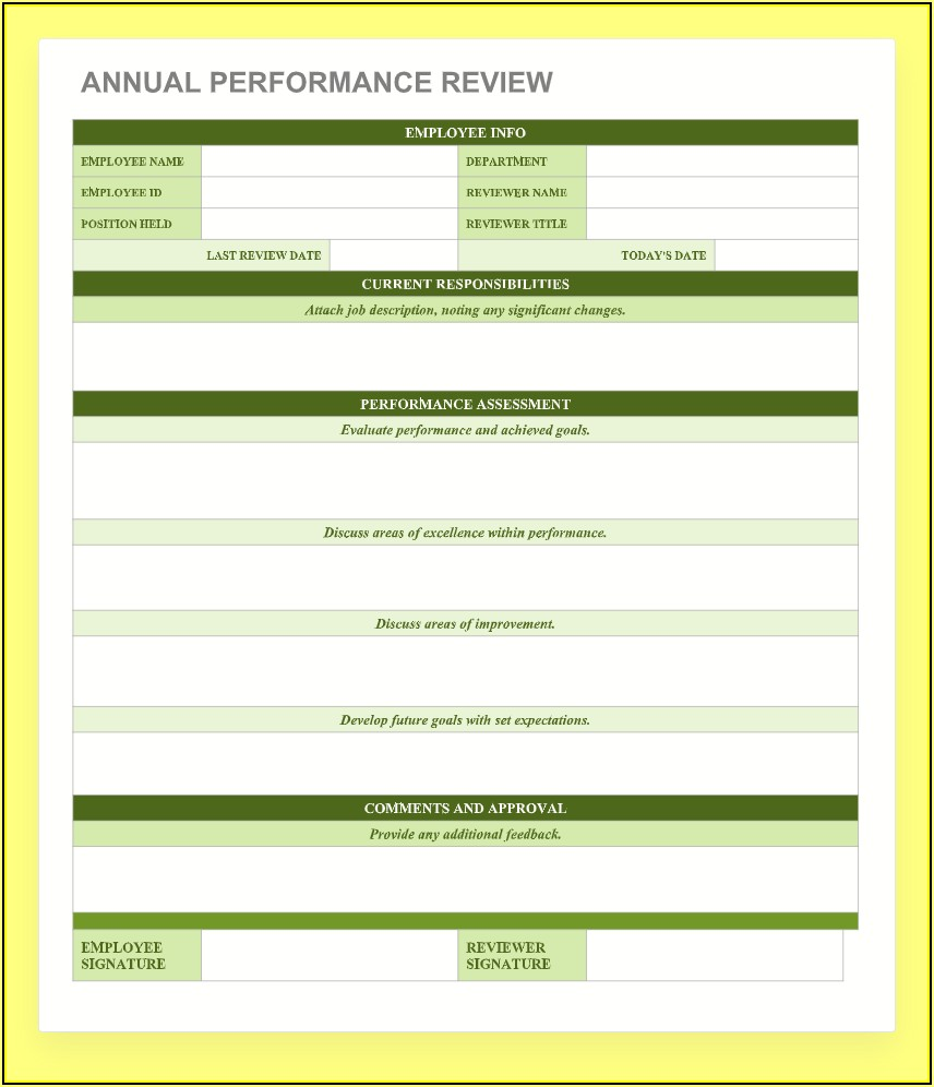 Free Blank Employee Review Forms