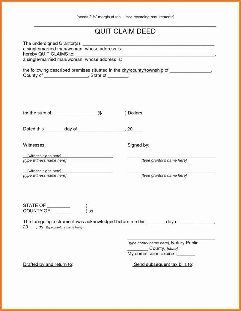 Free Blank Quit Claim Deed Form Michigan