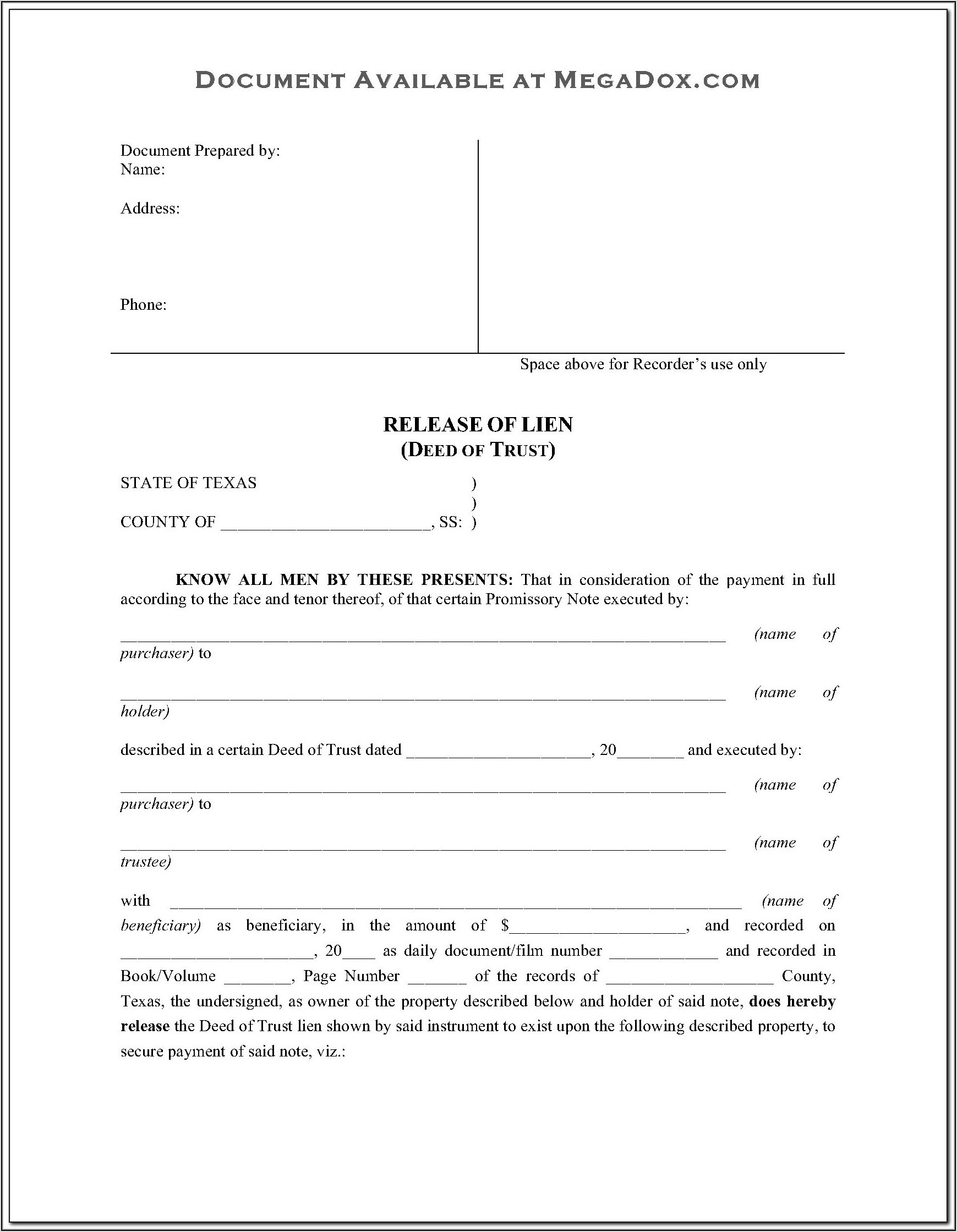 Free Colorado Deed Of Trust Form
