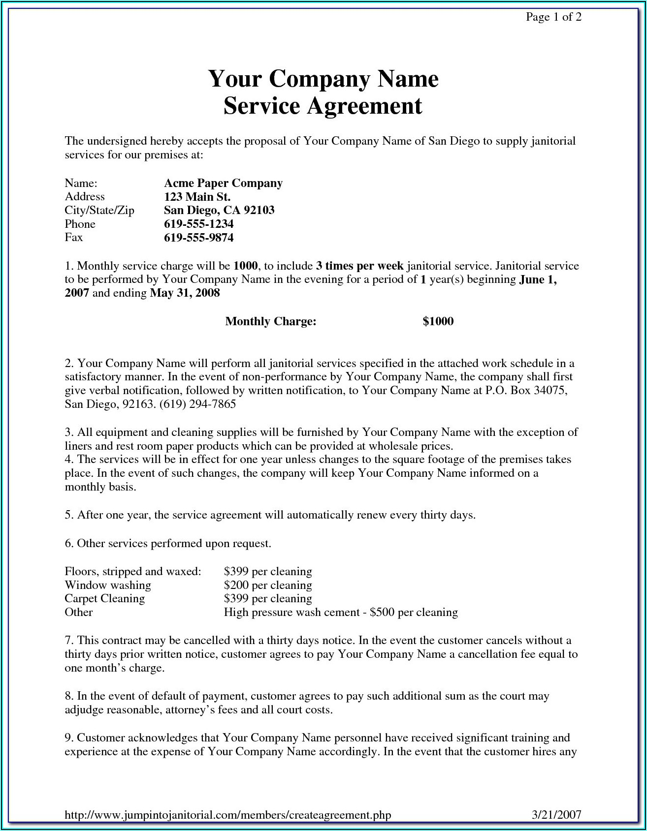 Free Daycare Contracts And Forms