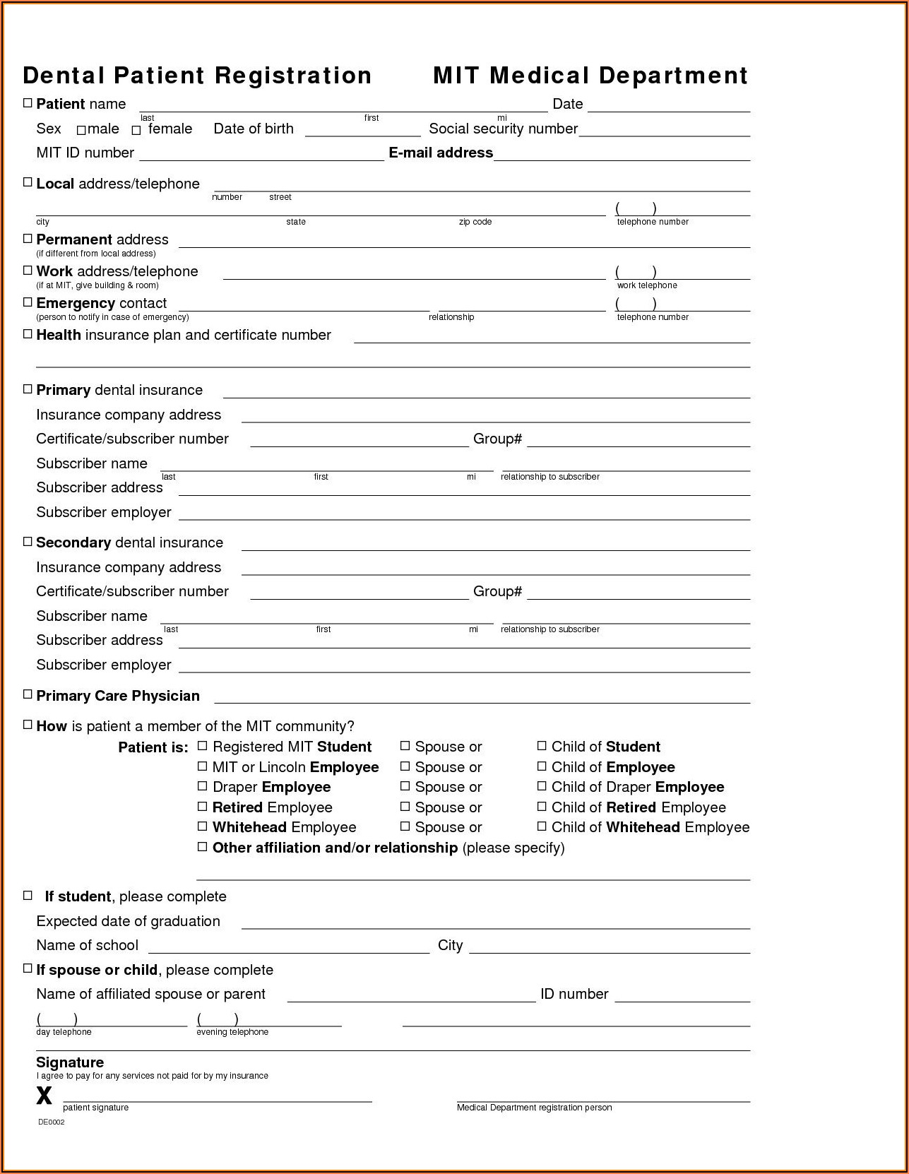 Free Dental Patient Registration Form Template
