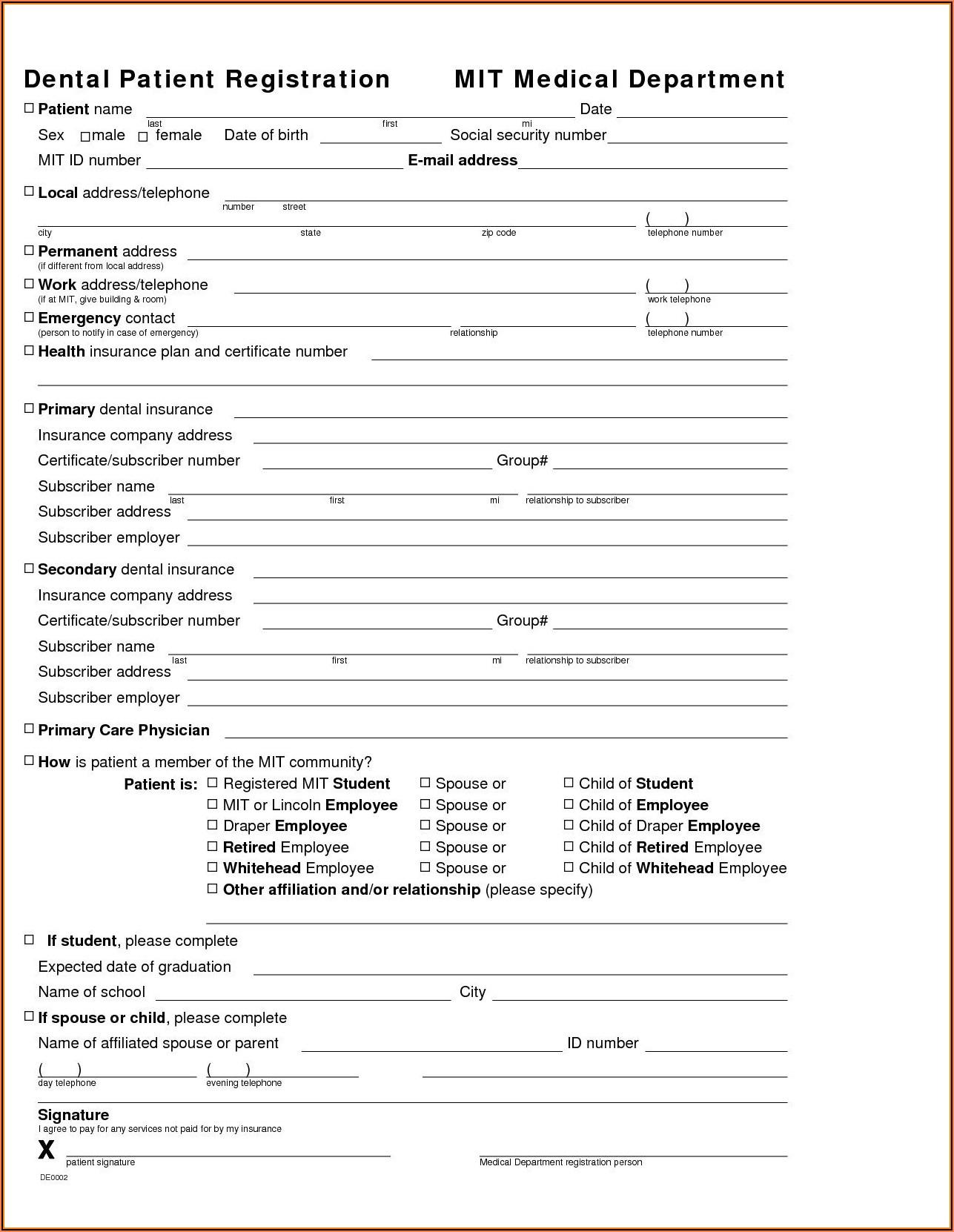 Free Dental Patient Registration Form Template
