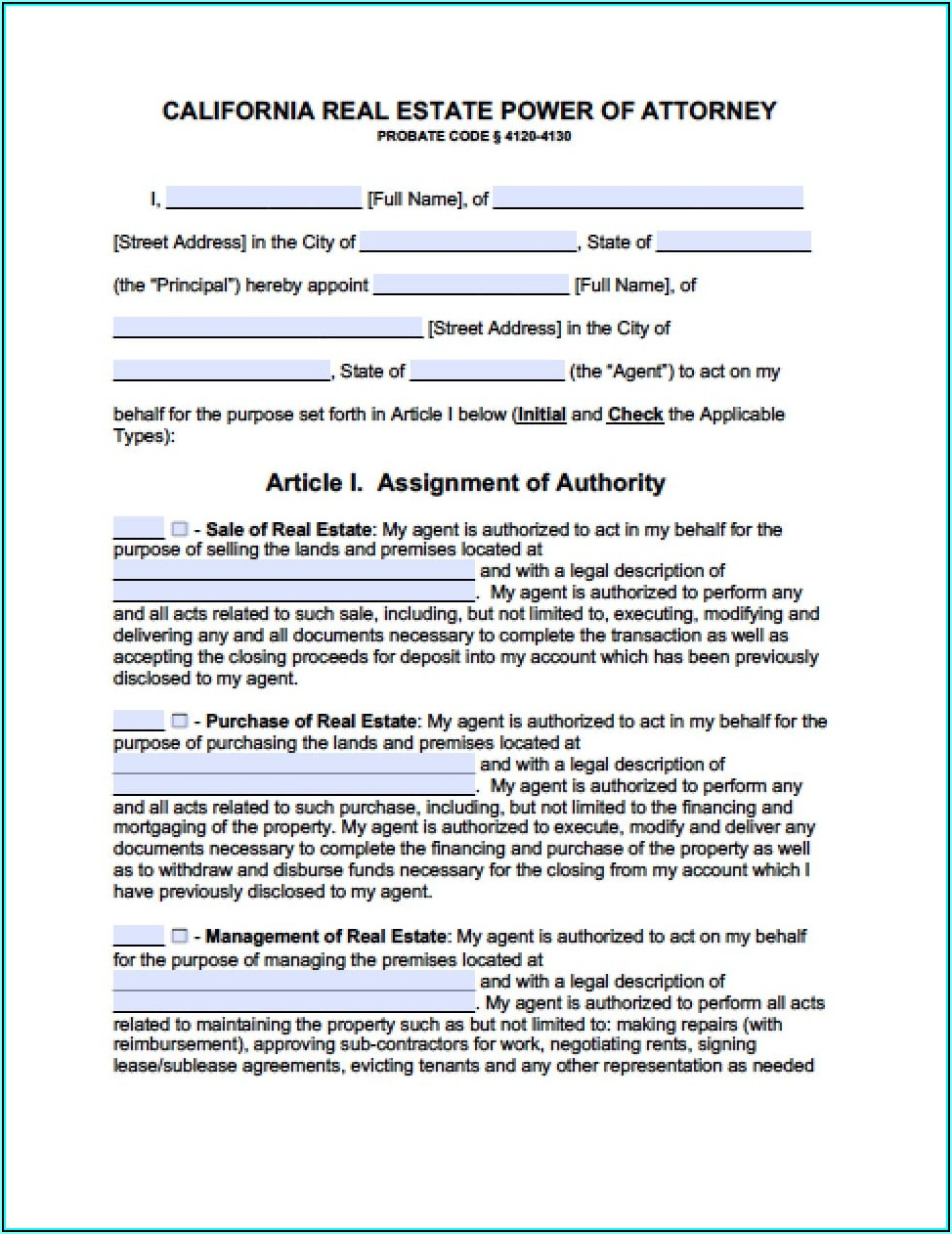 Free Durable Power Of Attorney Forms To Print California