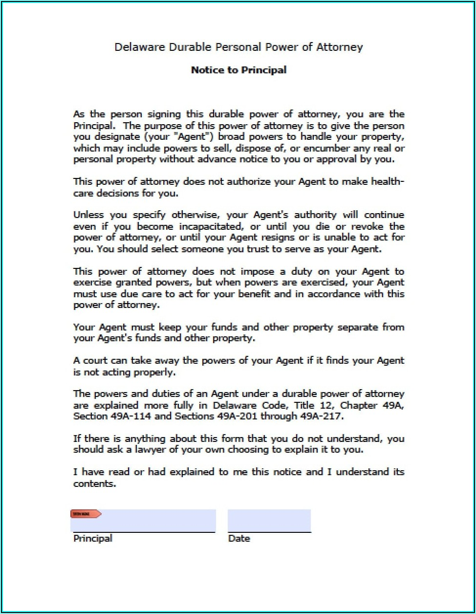 Free Durable Power Of Attorney Forms To Print Delaware