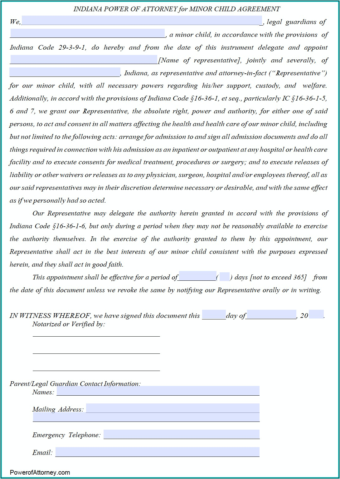 Free Durable Power Of Attorney Forms To Print Indiana