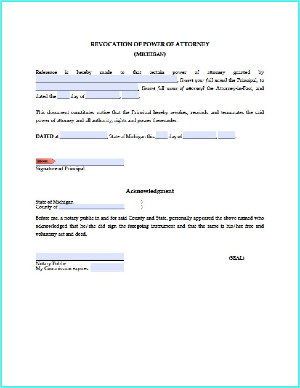 Free Durable Power Of Attorney Forms To Print Michigan