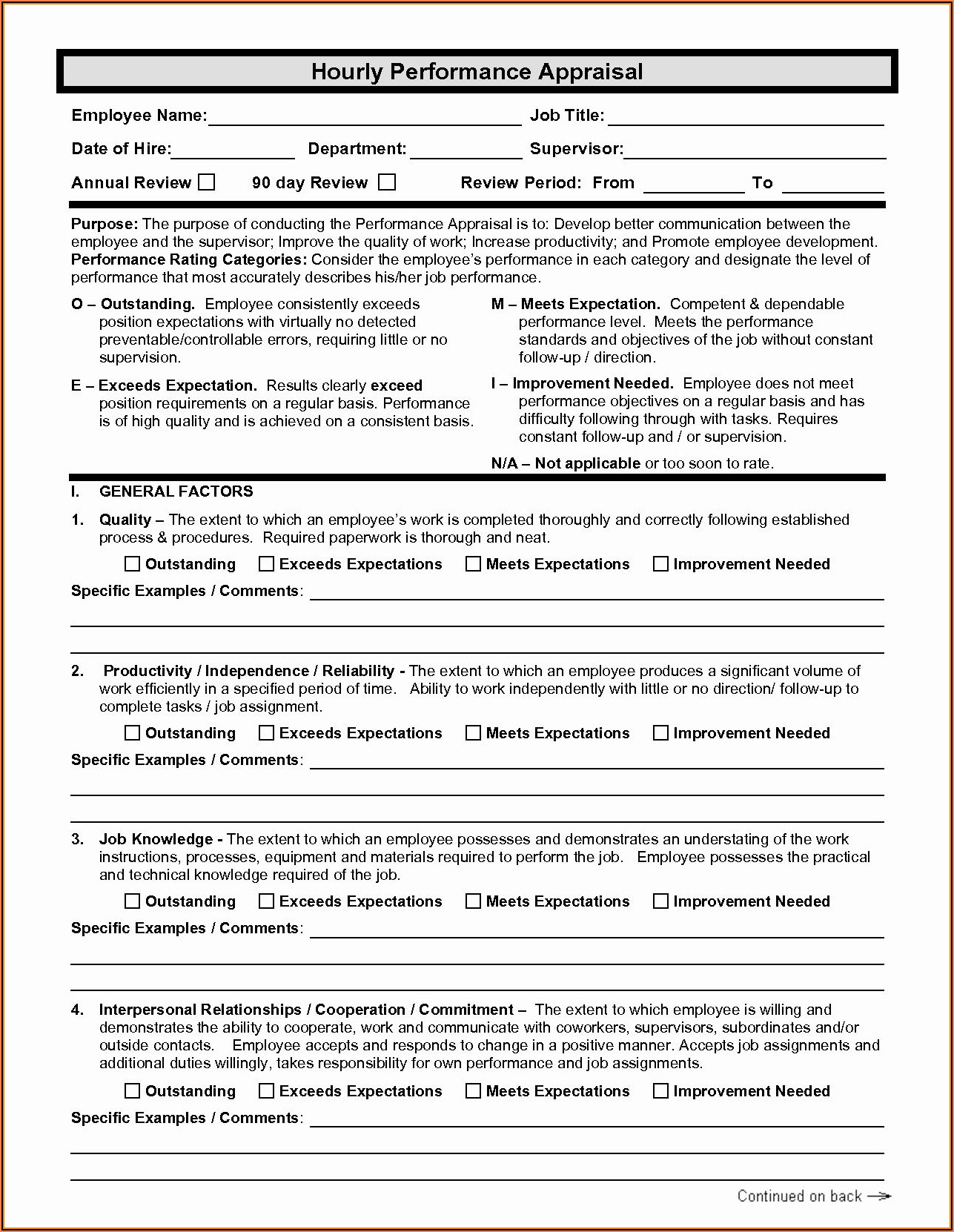 Free Employee Evaluation Form Word