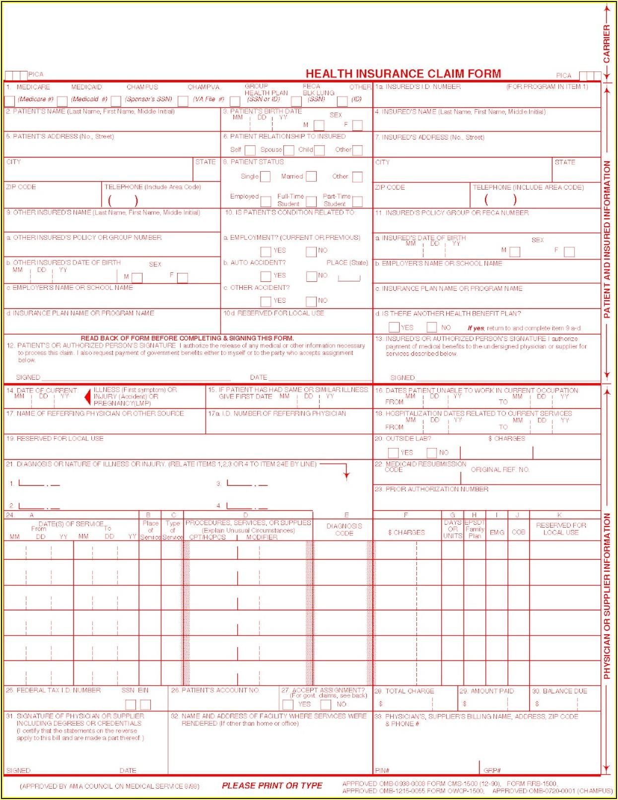 Free Fillable Cms 1500 Form Pdf