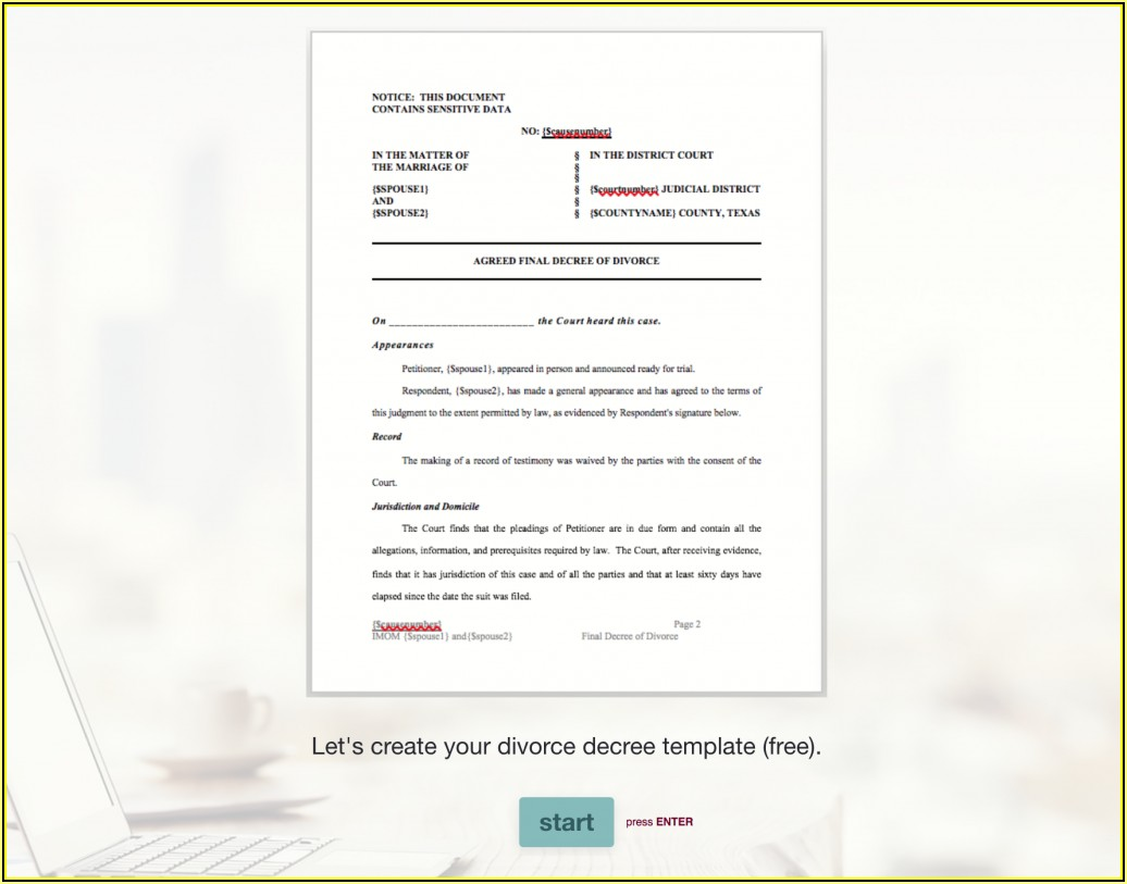 Free Final Divorce Decree Forms Texas