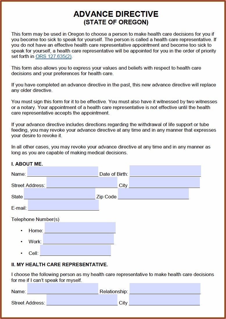 Free Oregon Power Of Attorney Forms