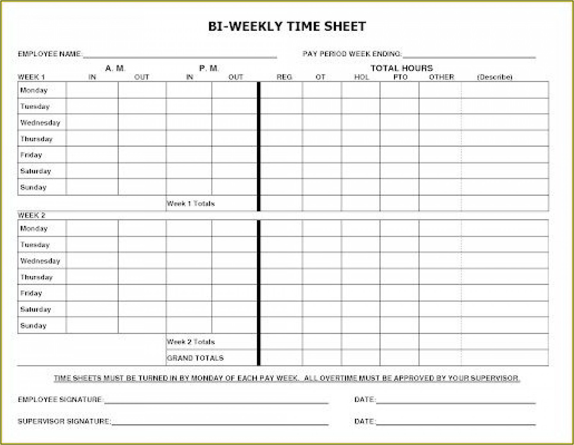 Free Printable Biweekly Time Sheets Forms