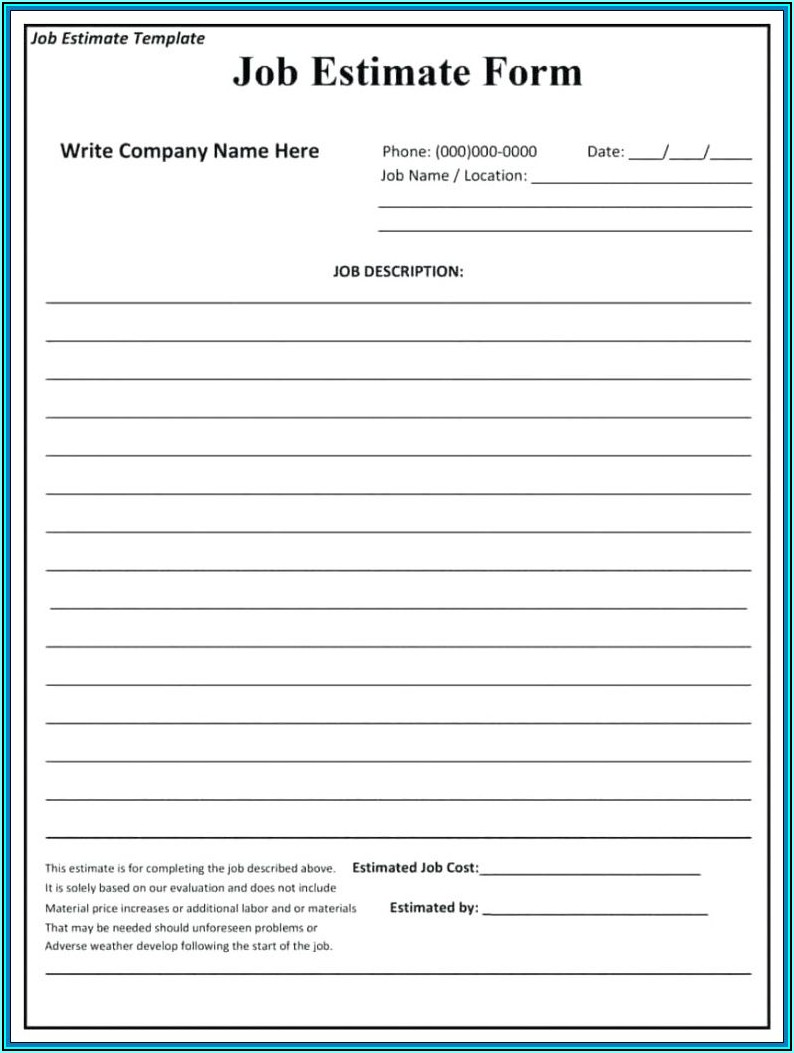 Free Printable Blank Estimate Forms