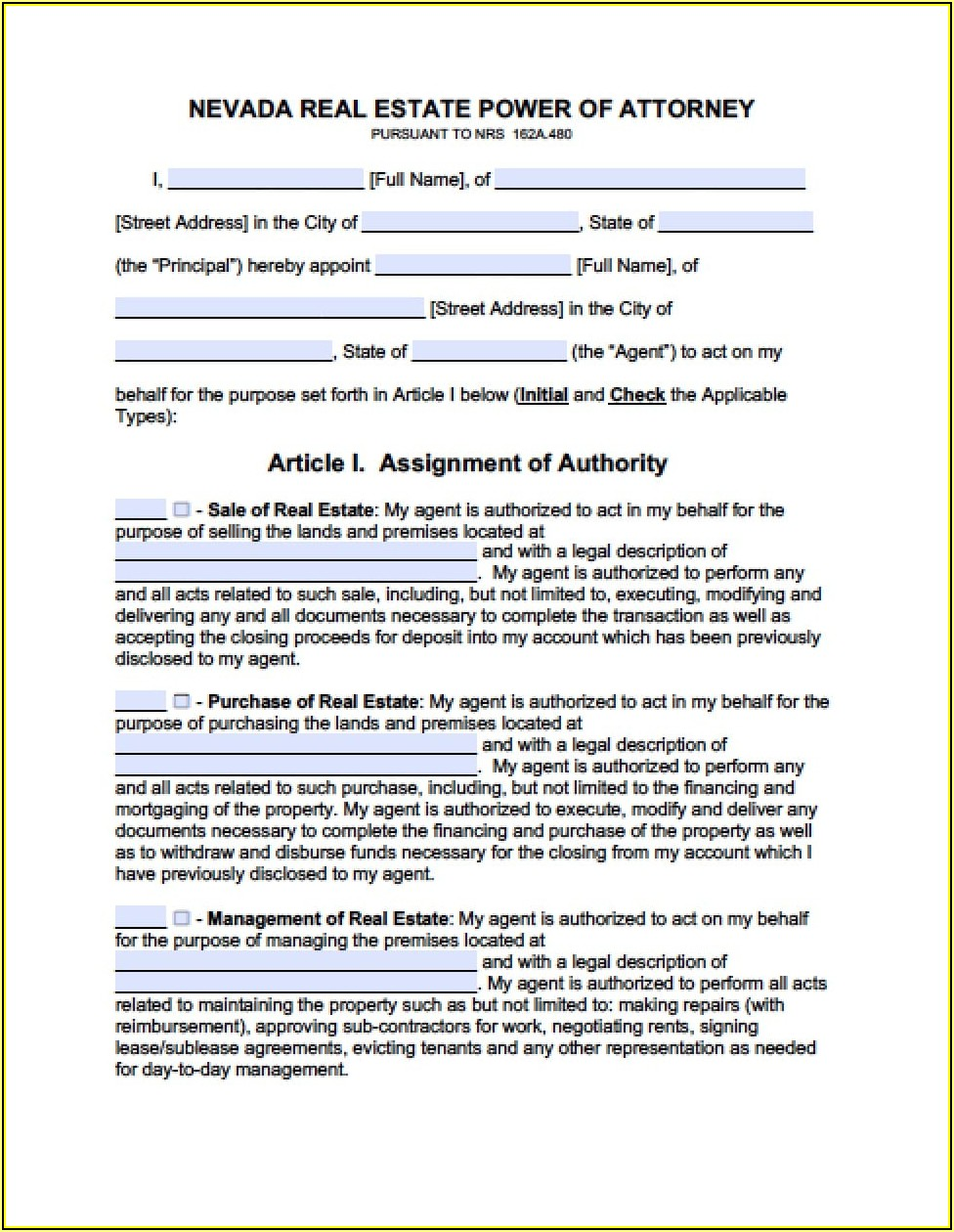 Free Printable Durable Power Of Attorney Form Nevada