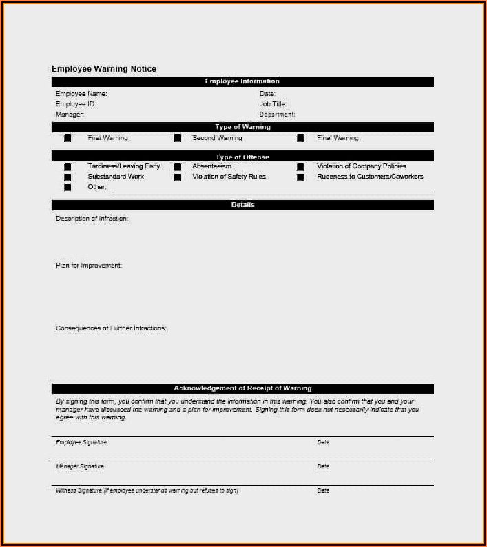 Free Printable Employee Warning Form