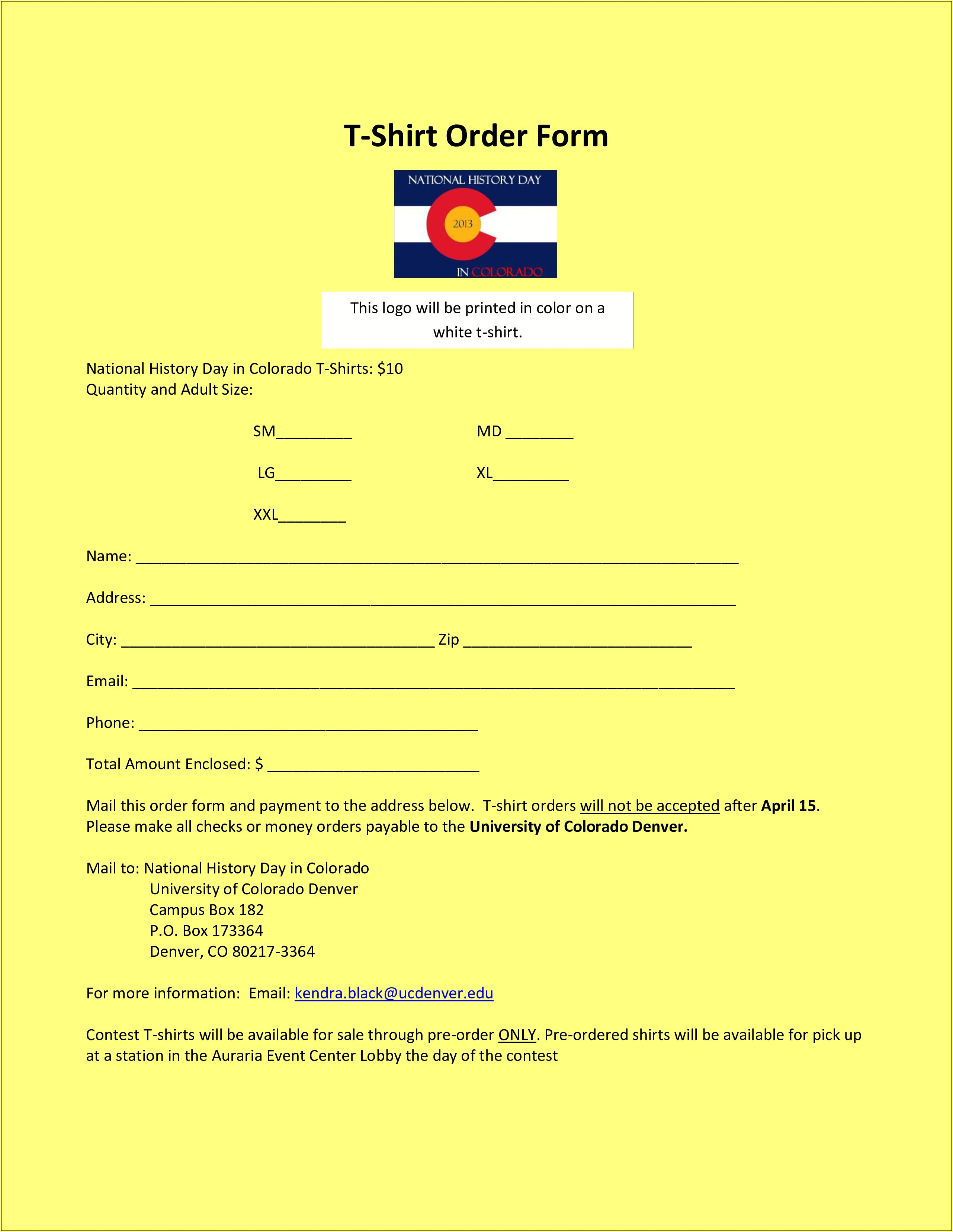 Free Printable Order Forms For T Shirts