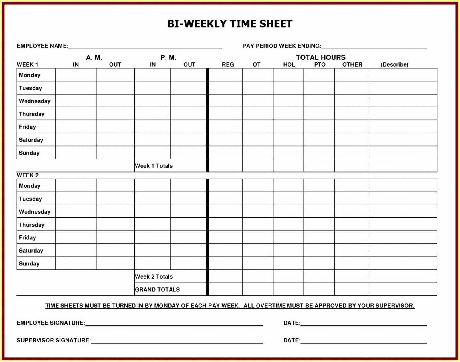 Free Printable Timesheet Forms