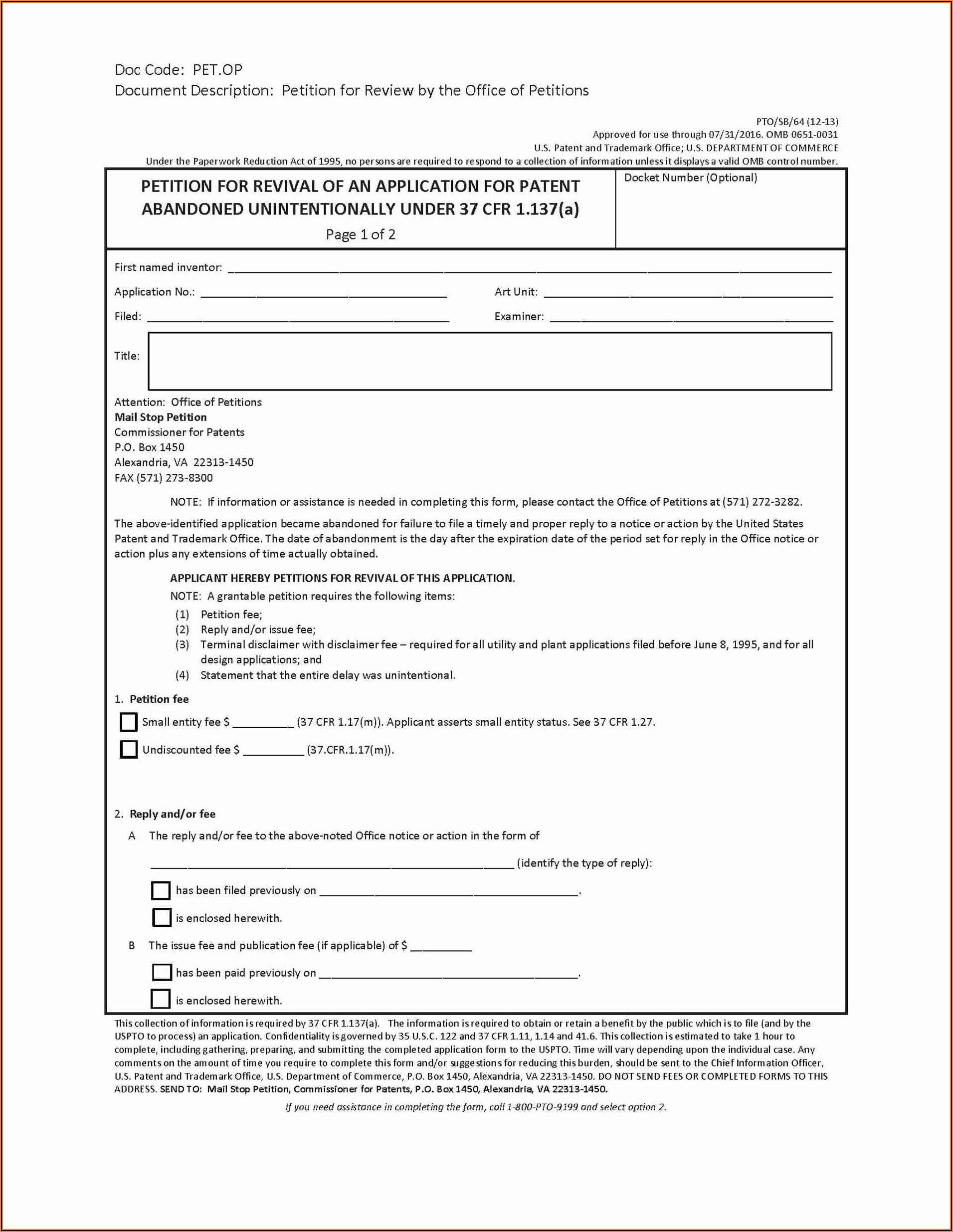 Free Provisional Patent Application Form