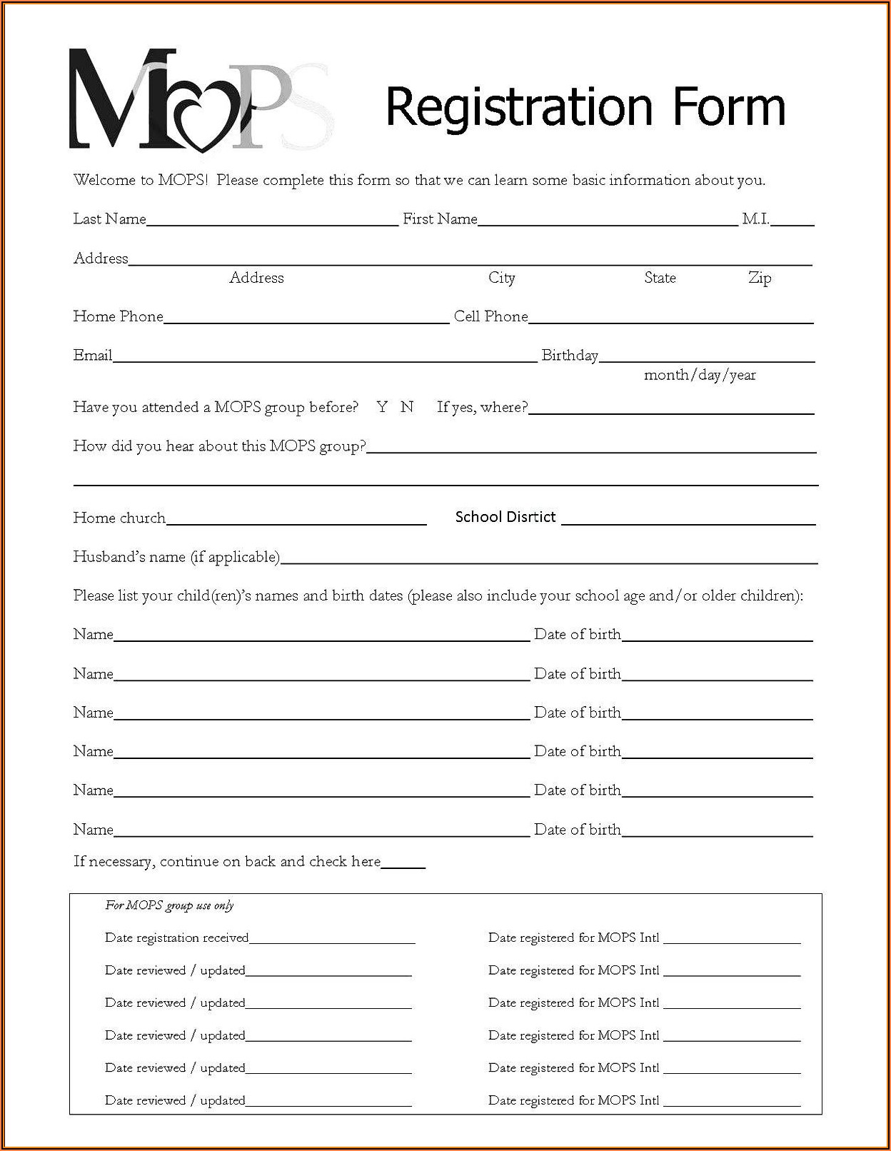 Free Registration Form Template Download