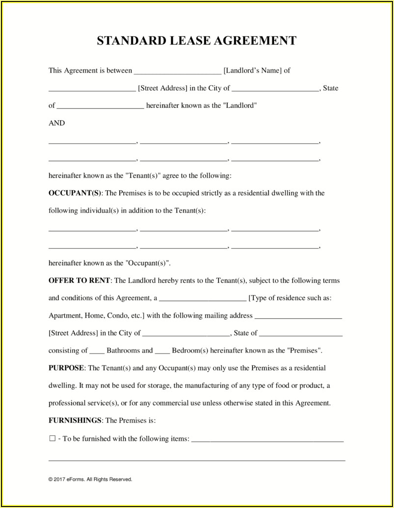 Free Rental Or Lease Agreement Forms