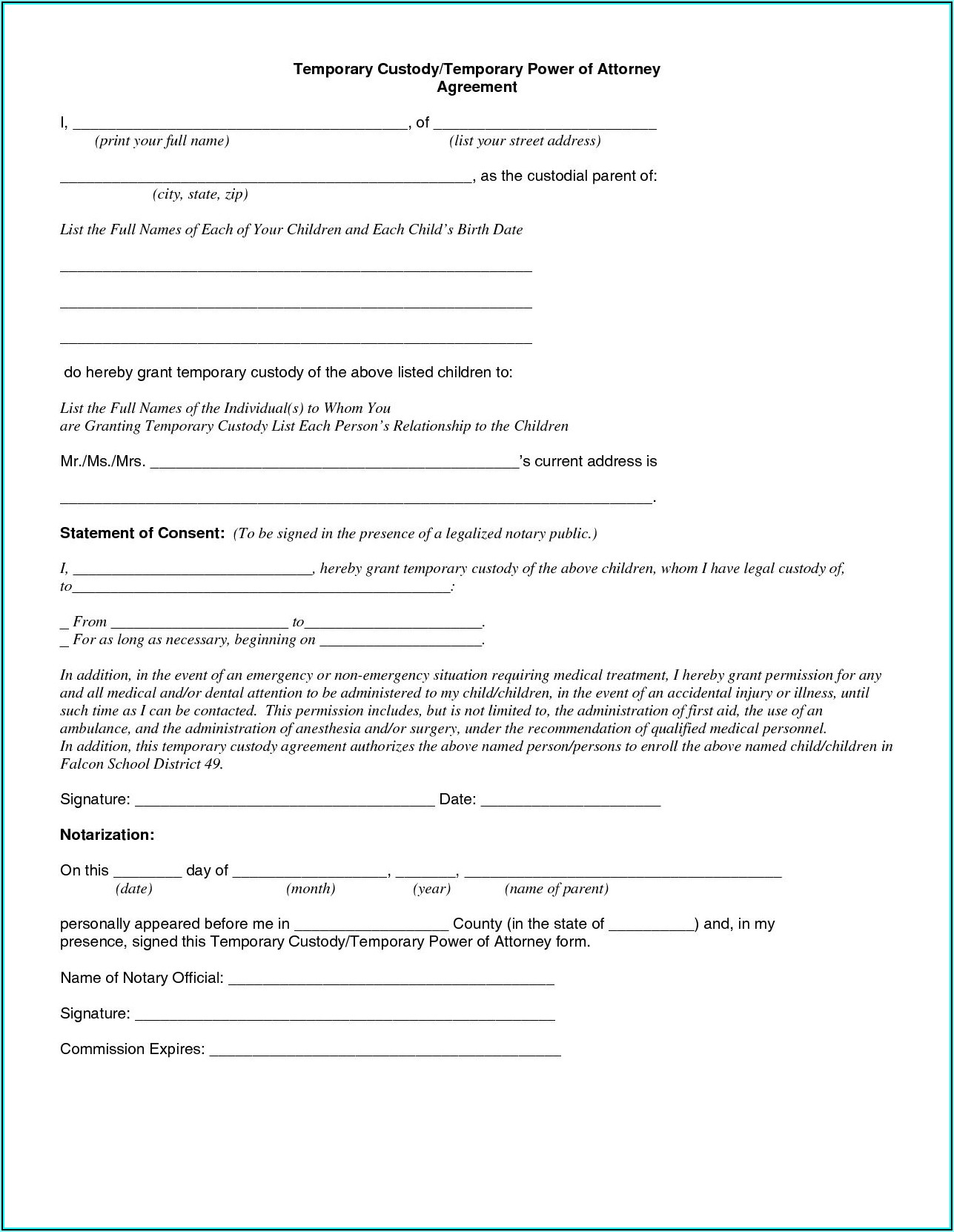 Free Temporary Child Custody Forms Florida