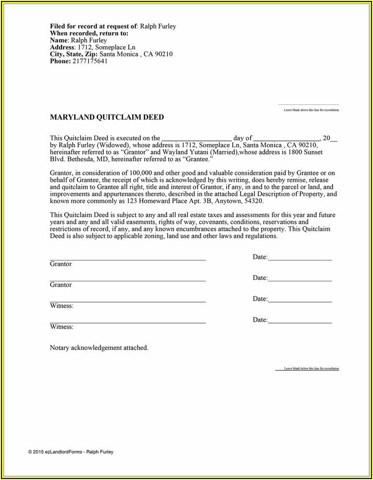 Fulton County Georgia Quit Claim Deed Form