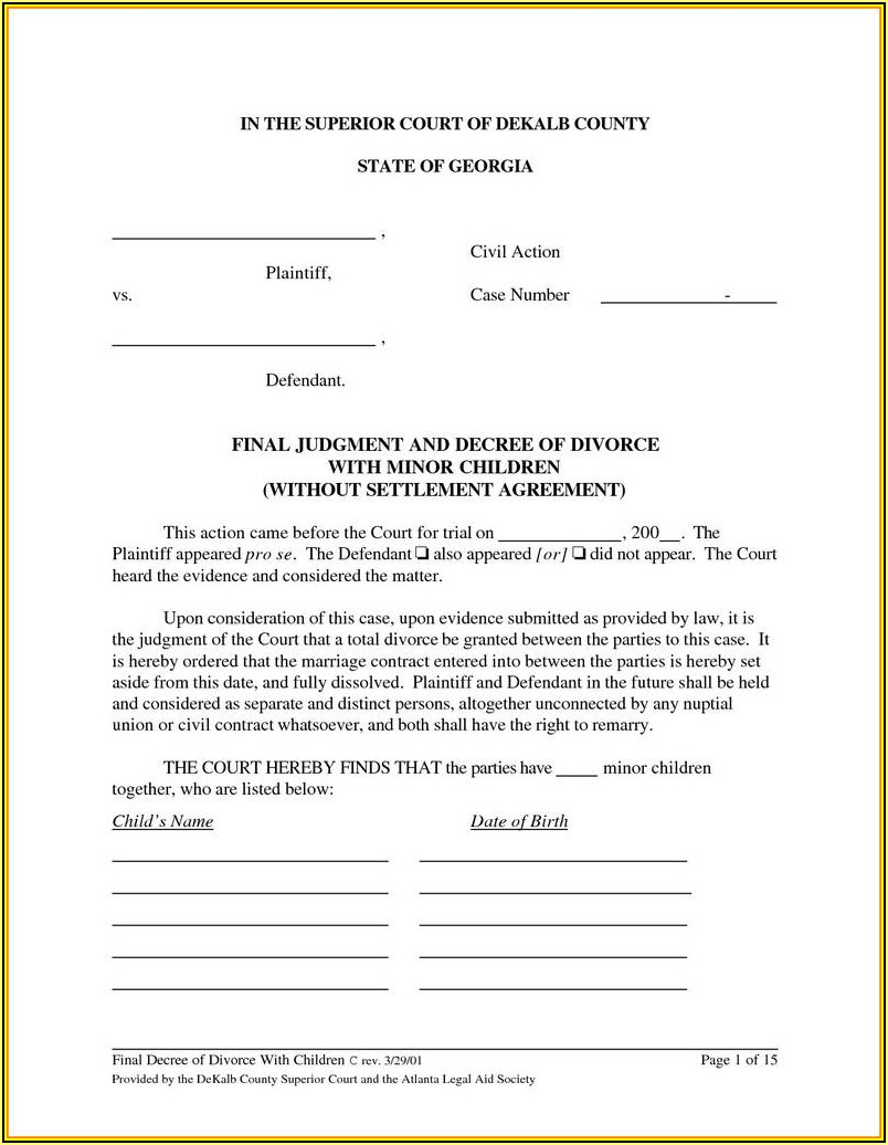 Georgia Final Divorce Decree Form