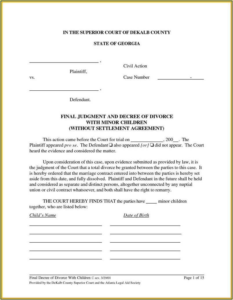 Georgia Final Divorce Decree Form